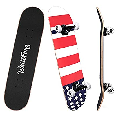 WhiteFang Skateboards for Beginners, Complete Skateboard 31 x 7.88, 7 Layer Canadian Maple Double Kick Concave Standard and Tricks Skateboards for Kids and Beginners(Great-US)