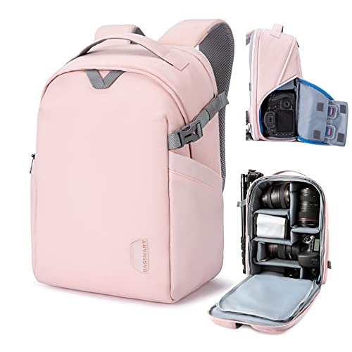BAGSMART Camera Backpack, DSLR SLR Camera Bag Fits up to 13.3 Inch Laptop Water Resistant with Rain Cover, Tripod Holder for Women and Girls,Pink