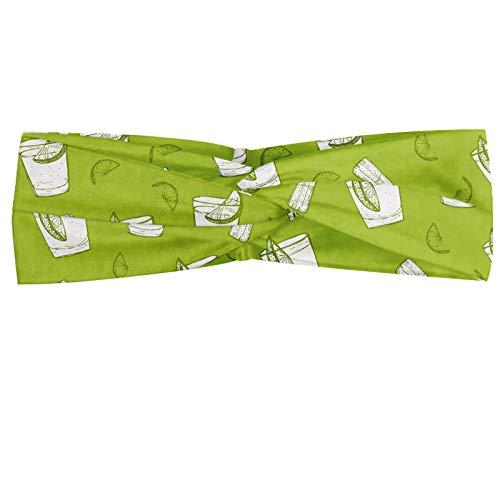ABAKUHAUS Tequila Hoofdband, Alcohol Culture Pattern, Elastische en Zachte Bandana voor Dames, voor Sport en Dagelijks Gebruik, Apple Green White
