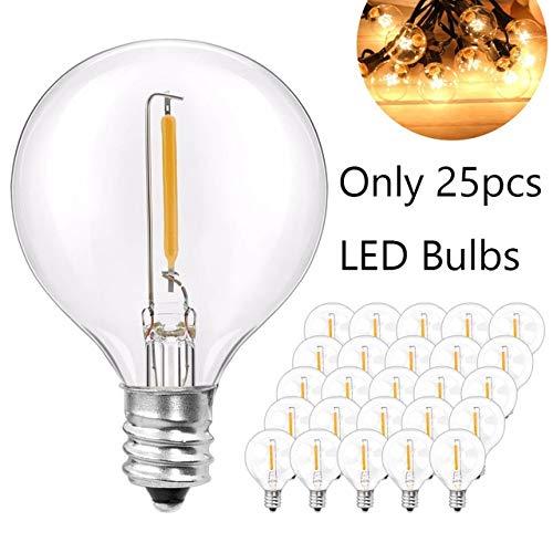 25 pies Luces LED de Cadena de Luces de Boda de Hadas LED Globo de Adorno Bombilla LED de luz de Cadena de Hadas Guirnalda de jardín de Fiesta al Aire Libre - Solo 25 Bombillas LED, Enchufe de la UE