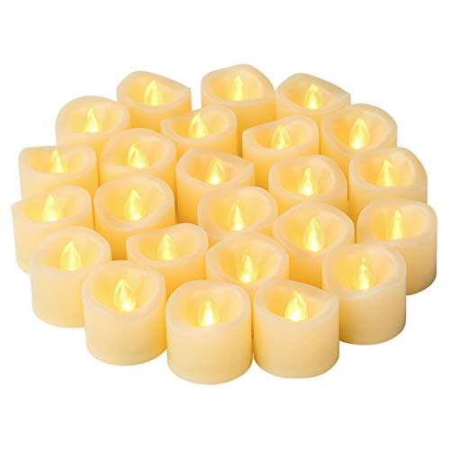 LED Flameless Flickering Votive Tea Lights Candle Battery Operated Set of 24 / Electric Flicker Tealights Bulk Candles for Wedding, Party, Festival, Christmas Decorations etc (Batteries Included)
