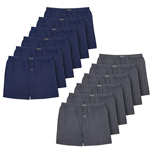 ROYALZ 10er Pack Boxershorts für Herren Baumwolle Locker American Style Basic Jungen Unterhosen Weit klassisch Weich 10 Set Männer Unterwäsche, Farbe:5 x Navy Blau / 5 x Dunkelgrau, Größe:XL