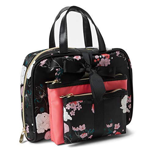 Adrienne Vittadini Cosmetic Bag Set: 3 Travel Makeup Toiletry Bags with Zippered Closure - Large Satchel & Medium & Small Square Cases - Black and Pink Floral