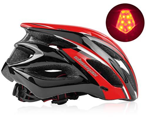 Shinmax Fahrradhelm,mit CE Zertifikat Fahrradhelm Abnehmbarem Visier für Männer&Frauen,Fahrradhelm für BMX,Scooter Skate,Mountain Fahrradhelm für Erwachsenen Herren Damen mit LED Rücklicht 57-62CM