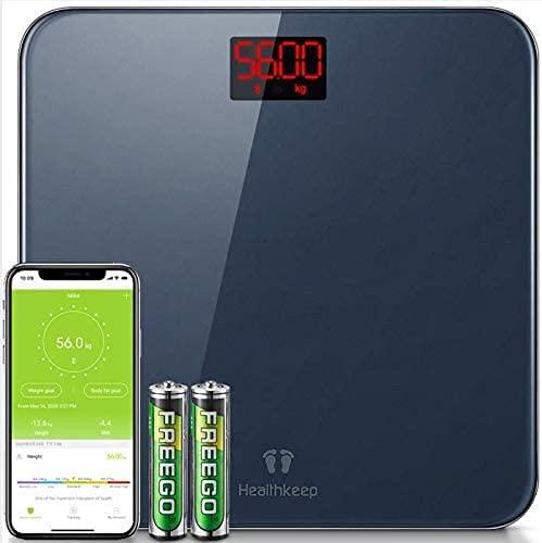 Bilancia Pesapersone Bilancia di Precisione con BMI Pesa Persona Bilancia Pesapersone Digitale Bluetooth con App per IOS e Android Smartphone, Robusto Vetro Temperato, LED Display, 180kg, Grigio
