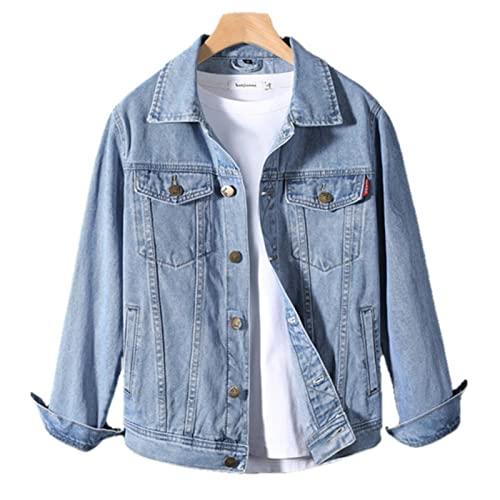 UKKO Giacca di Jeans Giacca in Denim in Cotone Uomo Casual Solido Colore Colore Risvolto Singolo Bresed Jeans Giacca Uomo Autunno Slim Fit Giacche da Uomo