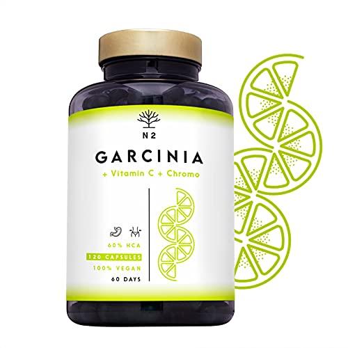 Garcinia Cambogia Extra fort 60% HCA | Coupe Faim | Brule graisse Puissant et Efficace, Thermogénique, Naturel Minceur, Vitamine C et Chrome | 120 Gélules Pure. Certifié VÉGAN UE N2 Natural Nutrition