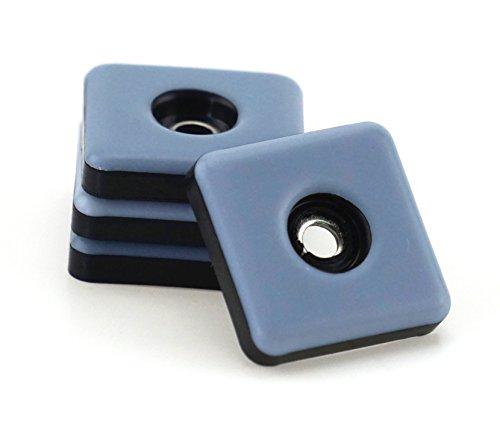 16 Stück Teflon-Möbelgleiter 25 mm x 25 mm – 5 mm dick inkl. Schraube 3,5 mm x 20 mm | PTFE-Beschichtung | Teflongleiter | Möbelgleiter | Stuhlgleiter