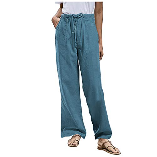 Lazzboy Store Freizeithose Plus Size Frauen Solid Tightness Baumwolle Leinenhose Casual Pants Damen Hosen Lang Weites Bein Sommerhose(Blau,2XL)