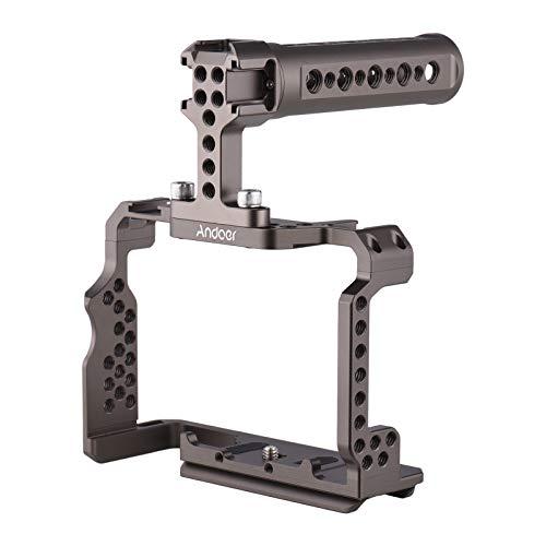 Video Cage, Kit de gaiola para câmera em liga de alumínio com alça superior da plataforma de vídeo compatível com Sony A7R III / A7 II / A7III