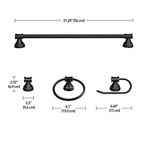 Globe Electric 50192 Parker, 5-Piece All-In-One Bath Set, Oil Rubbed Bronze Finish, 3-Light Vanity, Towel Bar, Towel Ring, Robe Hook, T.P, 0