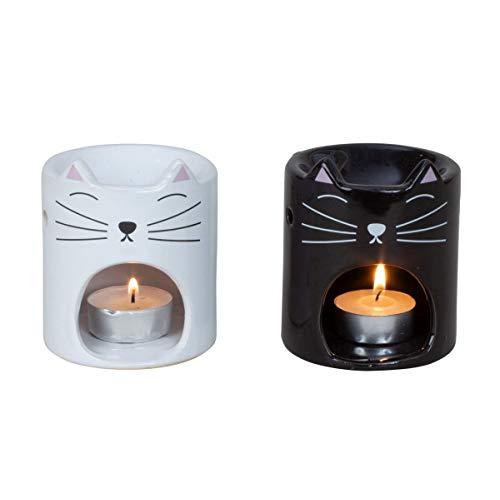 Diffusore di aromi - Porta candela Tea light - Bruciatore oli essenziali - mod gatto - colore BIANCO - aromaterapia - realizzati in ceramica