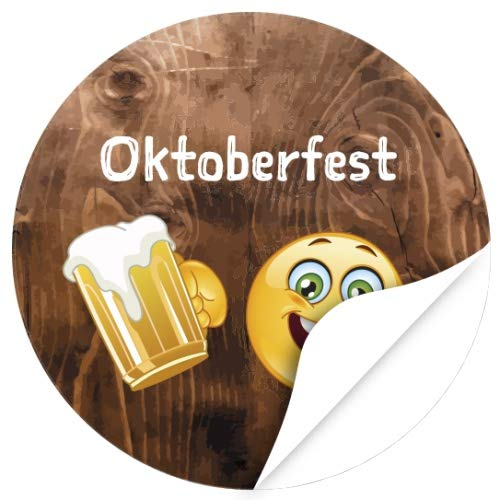 48 Oktoberfest 2019 Etiketten, rund/Smiley mit Bier auf Holz-Look/zur Dekoration/Aufkleber/Sticker/Einladung