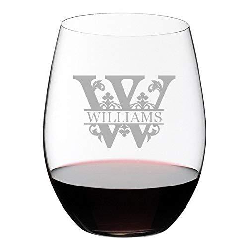 Copas de vino grabadas con monograma de letras regales divididas, copas de vino personalizadas, regalos para bodas sin tallo