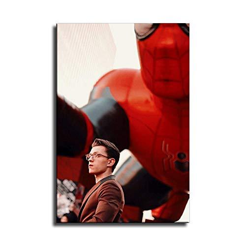 Póster de Spider Man 3 Tom Holland en lienzo y arte de pared, diseño moderno de Tom Holland, Sin marco, 12x18inch
