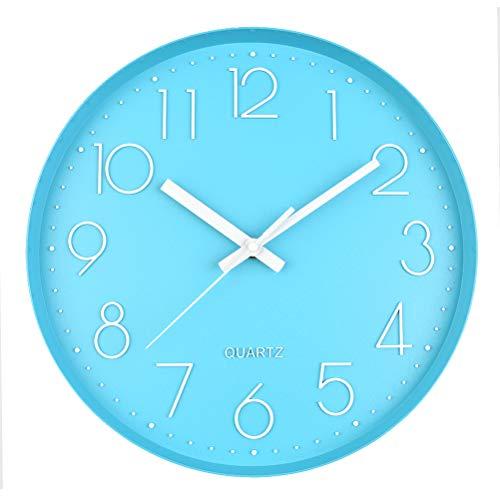 DODUOS 30 cm Quartz Wanduhr Lautlos Rund Wanduhr mit Geräuscharmem Quarzuhrwerk, ohne Tickgeräusche, für Zuhause, Büro, Schule (Blau)