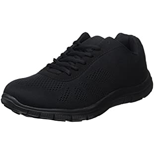 Mens Get Fit Mesh Running Trainers Athletic Walking Gym Shoes Sport Run - Black/Black 45 - BT0047