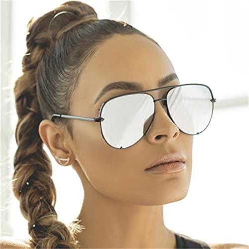 Moda Gafas De Sol De Piloto De Aviación para Mujer, Gafas De Sol Clásicas Retro con Gradiente, Gafas De Sol para Mujer, Hombre, Marca De Lujo, Diseñador Plateado