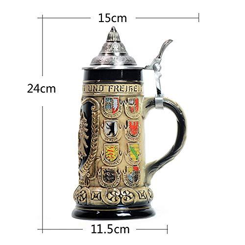 Hao-zhuokun Bierkrug Mittelalterlicher Bierkrug mit Deckel,mehrfarbiger keramischer Stein in Steinform Bierstein,Vatertag,Weihnachten G.