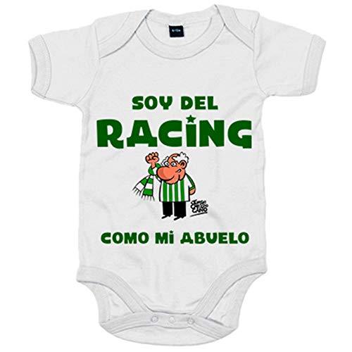 Body bebé soy del Racing como mi abuelo - Blanco, 6-12 meses