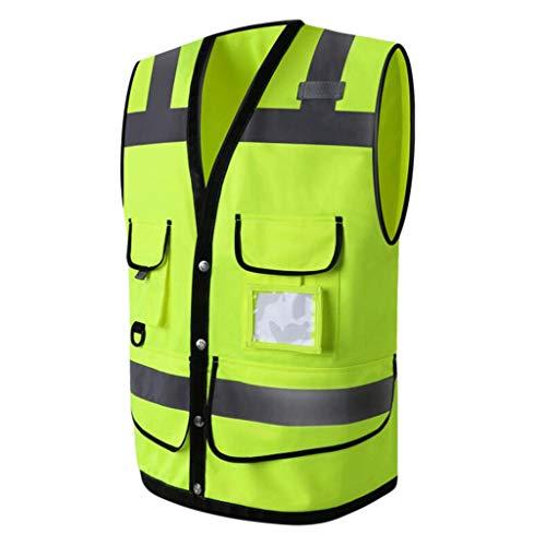 B Baosity Chaleco de Seguridad Laboral Fluorescente Multibolsillos de Hombre Multibolsillos/Chaquetas y Chalecos de Alta Visibilidad - Amarillo, XL
