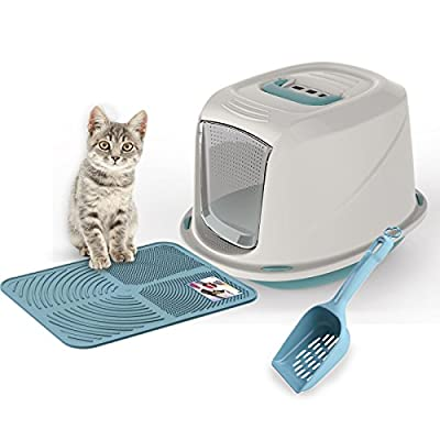 Blue Galaxy Cat Litter Tray Bundle + Blue Tray Mat + Scoop - Hooded Toilet Charcoal Filter