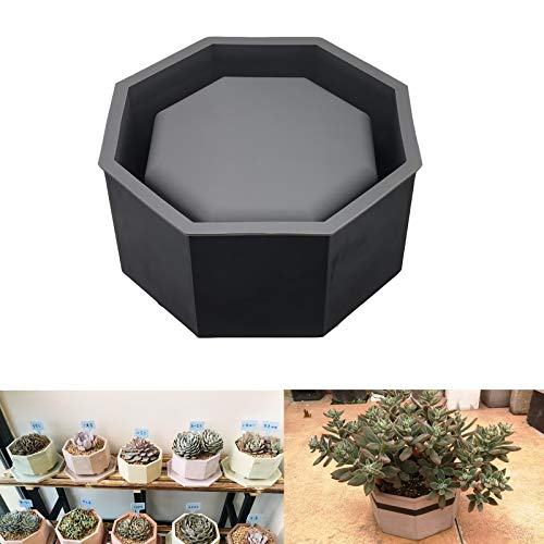 Silicone Planter Mold, Large Concrete Molds for Flower Pot Making DIY Handcraft (Octagon)