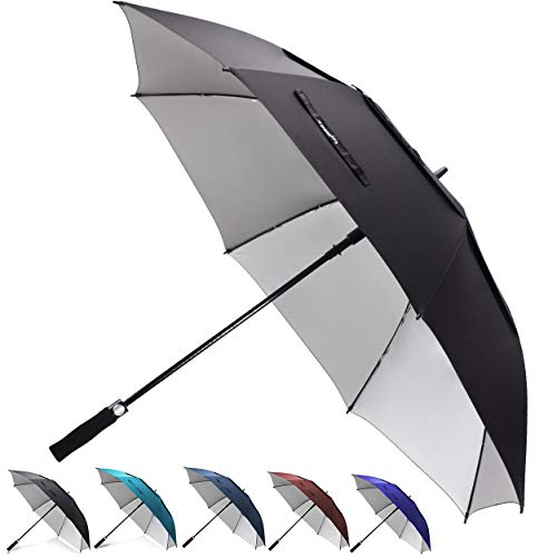 zekar 62/172,7cm Große winddicht Golf Regenschirm, belüftet Double Canopy und Auto öffnen, Schwarz Blau Rot Regenschirme, 54