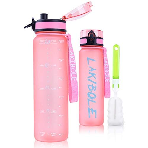 32 oz Motivational Sports Water Bottle with Time Marker Fruit Infuser Water Bottle (Pink)