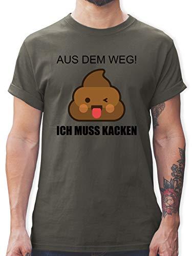 Statement - Emoticon - Aus dem Weg! Ich muss kacken - L - Dunkelgrau - Kacke Tshirt - L190 - Tshirt Herren und Männer T-Shirts