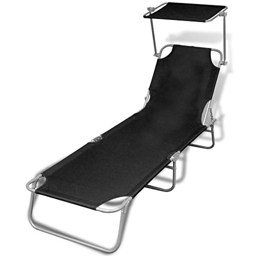 vidaXL Folding Sun Lounger with Canopy Steel and Fabric Black Outdoor Daybed