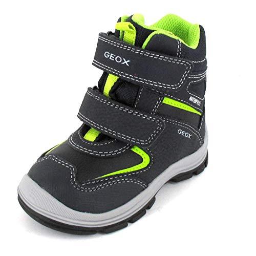 Geox Baby Jungen Boots FLANFIL Boy WPF, Kleinkinder Winterstiefel,lose Einlage,wasserdicht, Kinder-Schuhe Krabbel-Schuhe,Navy/Lime,22 EU / 5 UK Child