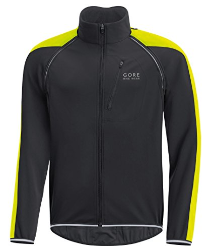 GORE BIKE WEAR Men's Cycling Jacket, Phantom Plus Gore WINDSTOPPER Zip-off Jacket, Size: S, Black/Neon Yellow, JWIPHA