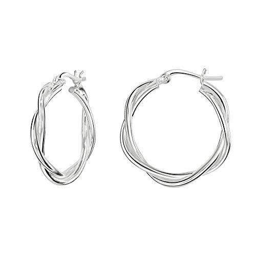 Dew Sterling Silver Two Wire Twist Hoop Earrings 66816HP028