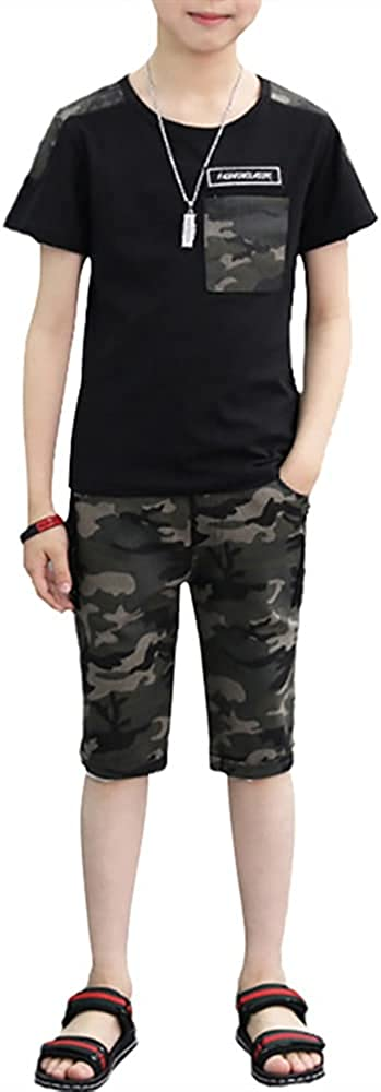 Boys 2 Pieces Set Long Sleeve Tops + Camouflage Pants Outfits Boys Clothes Set