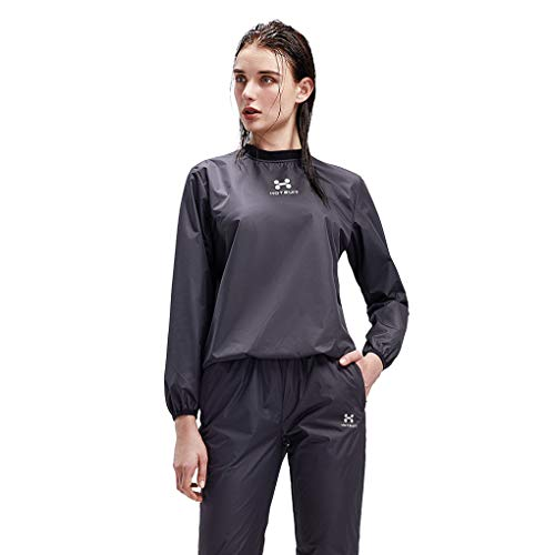 HOTSUIT Sauna Suit Women Weight Loss Gym Workout Tracksuit Sweat Suits, Black, XL