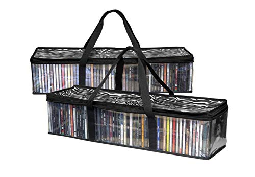 Imperius Portable CD Sturdy Storage Collection Bag/Moistureproof with Zipper and Carrying Handles/Set fo 2 Total 96 CD's