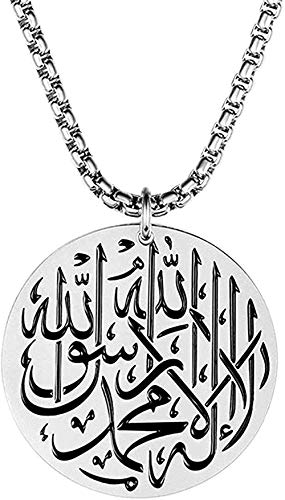 Zaaqio Muslim Shahada Islam Allah Stainless Steel Pendant Necklace for Men with Chain-Silver_Tone