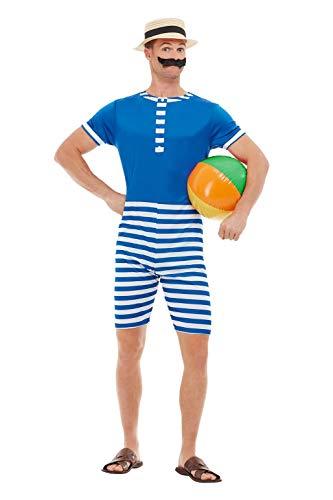 SMIFFYS 50726XL Costume da bagno anni '20, Uomo, Blu e Bianco, XL – Taglia 116,8-121,9 cm