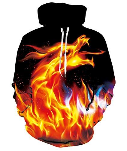 RAISEVERN Herren Dragon Sweatshirts Langarm-Kapuzenpullover mit Tasche XXL