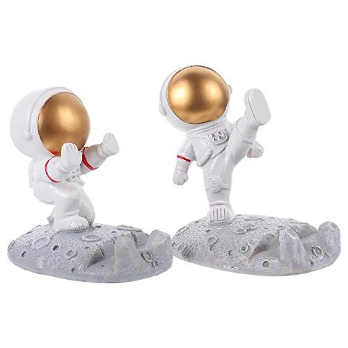 Amosfun 2 figuras de astronautas de juguete Spaceman estatuas modelo soporte teléfono móvil boda Pascua cumpleaños espacio fiesta regalos decoración mesa coche tablero decoración