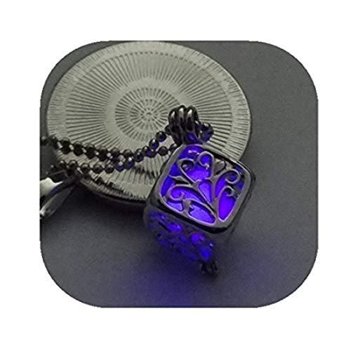 yichahu Árbol de la vida collares luminosos oscuros collar de cadena de color plateado que brilla en la oscuridad colgante collares (violeta)