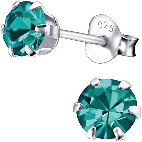 EYS JEWELRY Ohrstecker Damen rund 925 Sterling Silber Zirkonia zirkon-blau Damen-Ohrringe