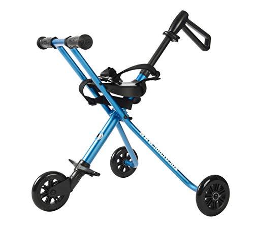 Micro Trike Deluxe. Silla de paseo Plegable, Edad 1-3 años. Peso 1,90kg. Carga máx 20kg. Rodamientos ABEC7, Giro y deslizamiento suave (Azul)