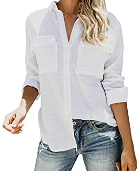 Womens Button Down V Neck Shirts Roll Up Long Sleeve Blouse Loose Fit Casual Work Plain Tops with Pockets White