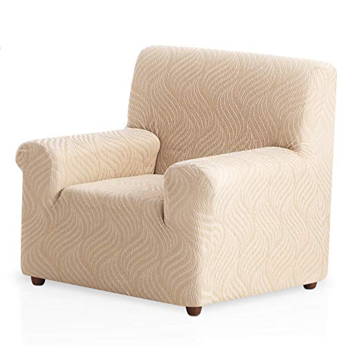 Funda de sillón elástica Aitana - Color Marfil - Tamaño 1 Plaza (de 50 a 90 cm)