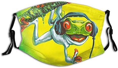 Tree Frog Chillin Music Headphones Face Mask Washable Reusable Face Bandanas Balaclava For Men product image