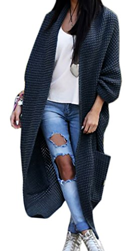 Mikos Damen-Strickjacke-Pullover-Pulli-Jacke-Oversize-Boho-S-M-L-XL (629) Graphite