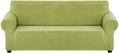 JPL Cubierta de sofá de terciopelo rico Funda impermeable 2 piezas Estirar el sofá en forma de L cubierta antideslizante Sofá seccional Sofá funda con correas de lujo de lujo verde grueso 4 + 4 plaza