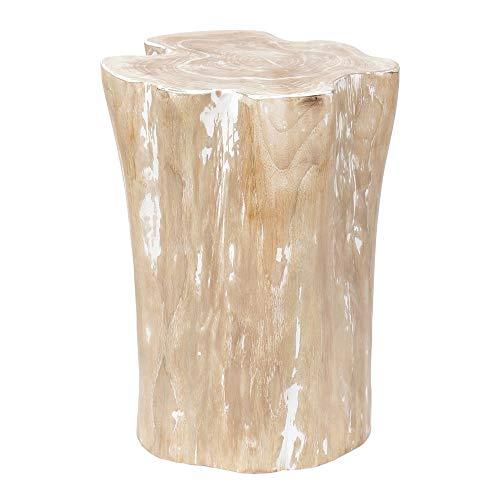 wohnfreuden Teak-Holz-Hocker 40 cm Weiss gebeizt Beistelltisch Dekoration Stamm